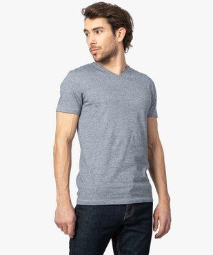 Tee-shirt homme à manches courtes et col V coupe slim vue1 - GEMO (HOMME) - GEMO