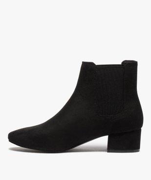 Boots femme unies style chelsea à talon carré vue3 - GEMO (CASUAL) - GEMO