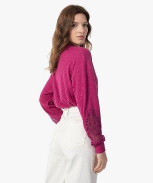 Tee-shirt femme court en maille côtelée avec manches brodées vue3 - GEMO(FEMME PAP) - GEMO