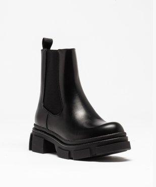 Boots femme unies style rock à semelle plateforme crantée vue2 - GEMO (CASUAL) - GEMO