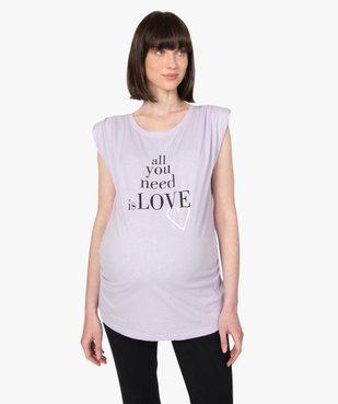 Tee-shirt de grossesse avec col rond et épaulettes vue1 - GEMO (MATER) - GEMO