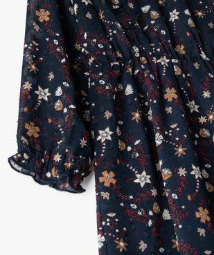 Robe fille en voile avec motifs fleuris et petits volants vue2 - Nikesneakers (ENFANT) - Nikesneakers