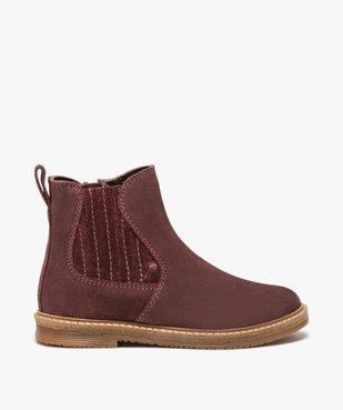 Boots fille zippées dessus cuir retourné style chelsea vue1 - Nikesneakers (ENFANT) - Nikesneakers