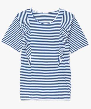 Tee-shirt de grossesse rayé à volants vue4 - GEMO (MATER) - GEMO