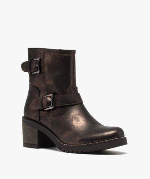 Boots femme métallisées à talon carré et semelle crantée vue2 - GEMO(URBAIN) - GEMO