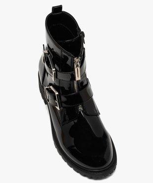 Boots femme vernies à talon plat et brides à boucle vue5 - GEMO (CASUAL) - GEMO
