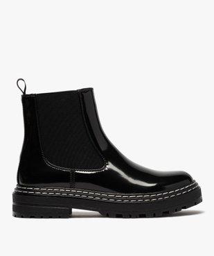 Boots femme style chelsea vernies à semelle crantée vue1 - Nikesneakers (CASUAL) - Nikesneakers