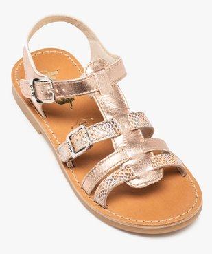 Sandales fille ajustables en cuir métallisé - Bopy vue5 - BOPY - GEMO