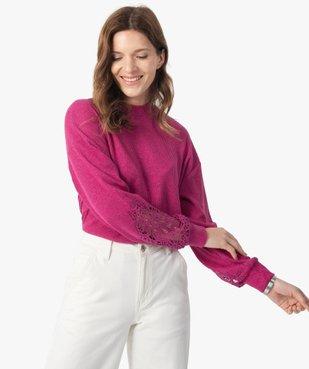 Tee-shirt femme court en maille côtelée avec manches brodées vue1 - GEMO(FEMME PAP) - GEMO
