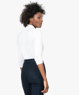 Tee-shirt femme uni avec col roulé et manches longues vue3 - GEMO(URBAIN) - GEMO