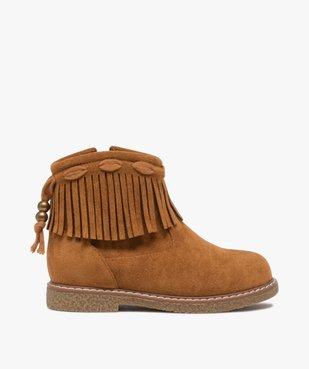 Boots fille en suédine unie avec col à franges vue1 - GEMO (ENFANT) - GEMO