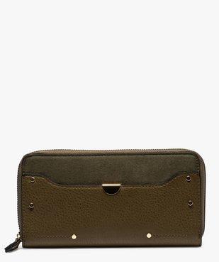 Portefeuille femme bi-matières avec clous métalliques vue1 - GEMO (ACCESS) - GEMO