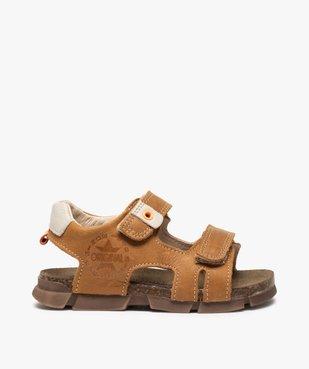 Sandales garçon tout terrain en cuir à scratchs - Bopy vue1 - BOPY - GEMO