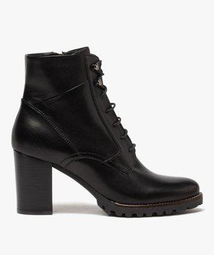 Boots femme à talon carré et dessus cuir façon godillots vue1 - GEMO(URBAIN) - GEMO