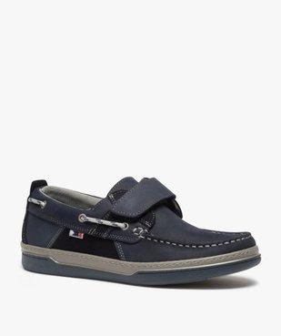 Chaussures bateau homme dessus cuir fermeture scratch vue2 - GEMO (CONFORT) - GEMO