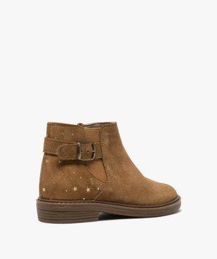 Boots fille style chelsea dessus cuir retourné motif étoiles vue4 - GEMO (ENFANT) - GEMO