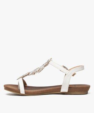 Sandales femme avec feuille en strass et petit talon compensé vue3 - GEMO (CASUAL) - GEMO