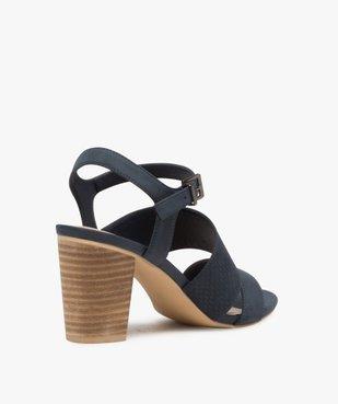 Sandales femme à talon rainuré et brides en suédine vue4 - GEMO(URBAIN) - GEMO