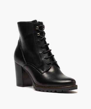 Boots femme à talon carré et dessus cuir façon godillots vue2 - GEMO(URBAIN) - GEMO