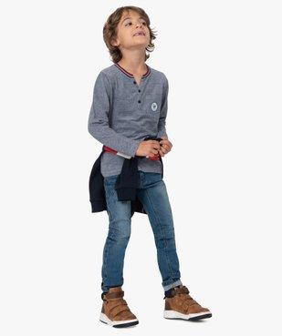 Tee-shirt garçon manches longues col tunisien en maille piquée - Lulu Castagnette vue5 - LULUCASTAGNETTE - GEMO