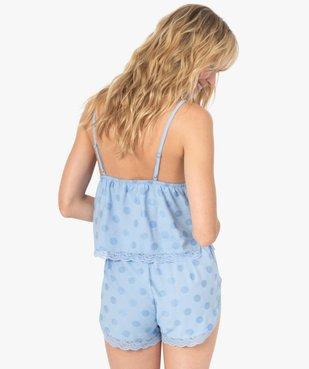 Haut de pyjama femme crop top à fines bretelles et pois - LuluCastagnette vue3 - LULUCASTAGNETTE - GEMO