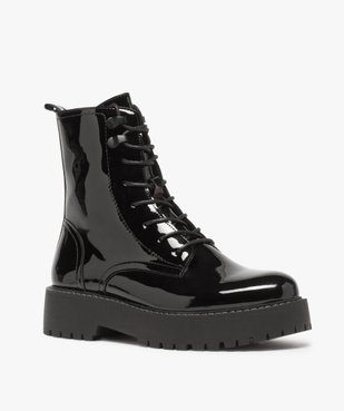 Boots femme vernis à lacets et semelle crantée vue2 - GEMO (CASUAL) - GEMO