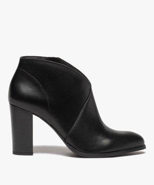 Low-boots femme à talon droit dessus cuir uni vue1 - GEMO(URBAIN) - GEMO