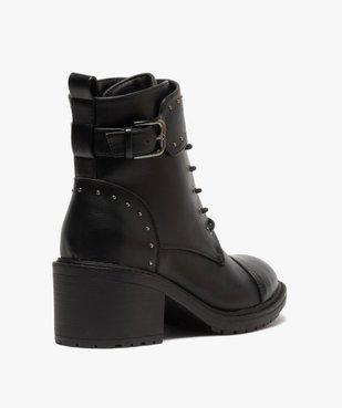 Boots femme unies à talon carré et brides à clous vue4 - GEMO(URBAIN) - GEMO