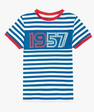 Tee-shirt garçon à rayures et inscriptions – Lulu Castagnette vue2 - LULUCASTAGNETTE - GEMO