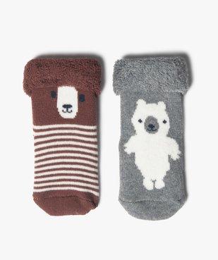Chaussettes bébé en maille bouclette ours (lot de 2)  vue1 - GEMO C4G BEBE - GEMO