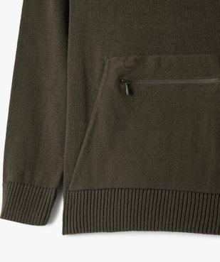Pull garçon en maille fine avec col châle et poche zippée vue3 - GEMO (ENFANT) - GEMO