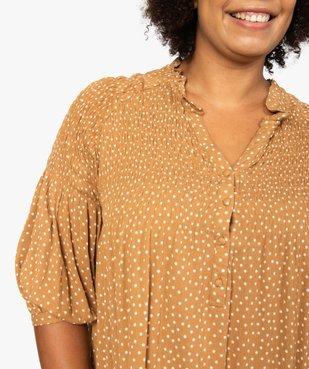 Robe femme imprimée à smocks et manches 3/4 vue2 - GEMO (G TAILLE) - GEMO