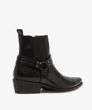 Boots homme unis zippés style santiags vue4 - GEMO(URBAIN) - GEMO