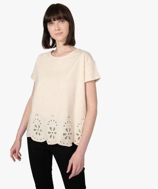 Tee-shirt femme à manches courtes avec bas brodé vue1 - Nikesneakers(FEMME PAP) - Nikesneakers
