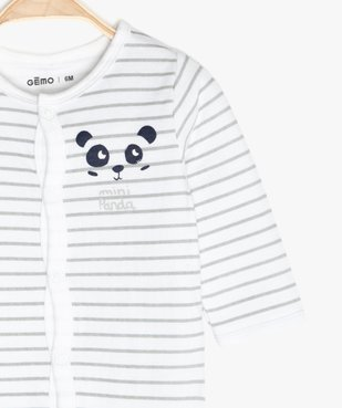 Pyjama bébé garçon à rayures avec motif panda vue2 - GEMO C4G BEBE - GEMO