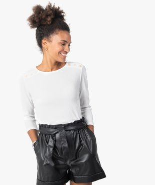 Tee-shirt femme à manches 3/4 en maille gaufrée  vue1 - GEMO(FEMME PAP) - GEMO
