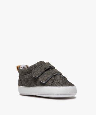 Chaussons de naissance bébé garçon en toile à scratch vue2 - Nikesneakers(BB COUCHE) - Nikesneakers