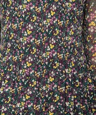 Blouse femme en voile plissé à motifs à manches longues vue5 - GEMO(FEMME PAP) - GEMO