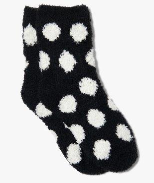 Chaussettes d'intérieur fille en maille bouclette motif pois vue1 - GEMO (ENFANT) - GEMO