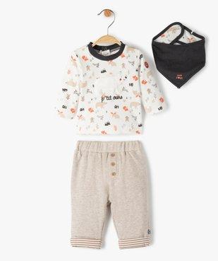 Ensemble bébé garçon 3 pièces : tee-shirt + foulard + pantalon - Sucre d'Orge vue1 - SUCRE D'ORGE - GEMO