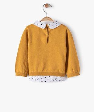 Pull bébé fille effet 2 en 1 avec col et bas chemise vue3 - GEMO(BEBE DEBT) - GEMO