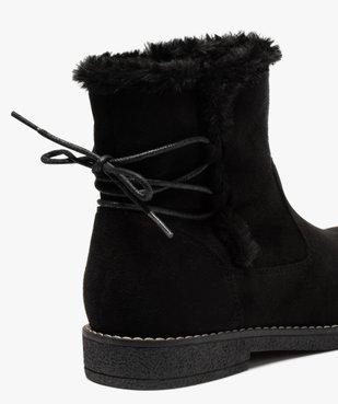 Boots fourrées femme à talon plat et suédine unie vue6 - GEMO (CASUAL) - GEMO
