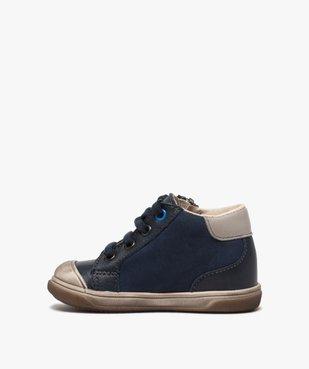 Chaussures premiers pas bébé garçon à lacets et zip - Bopy vue3 - BOPY - GEMO