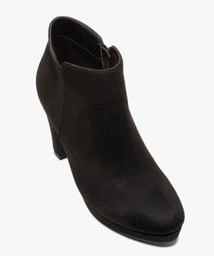 Low-boots femme à talon dessus en suédine unie vue5 - GEMO(URBAIN) - GEMO