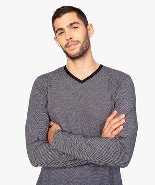 Pyjama homme bicolore à manches longues vue2 - GEMO(HOMWR HOM) - GEMO