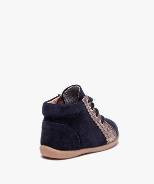 Chaussures premiers pas fille en cuir suédé et paillettes vue4 - Nikesneakers(BEBE DEBT) - Nikesneakers