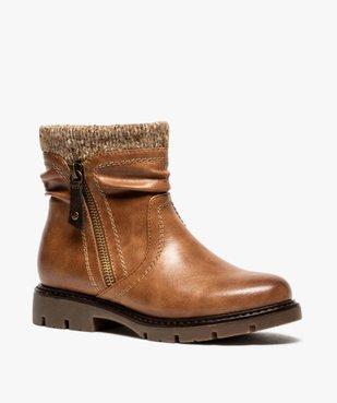 Boots fille à col en maille et semelle crantée vue2 - GEMO (ENFANT) - GEMO