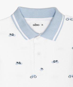 Polo garçon à manches courtes avec petits motifs vue3 - GEMO (ENFANT) - GEMO