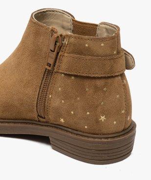 Boots fille style chelsea dessus cuir retourné motif étoiles vue6 - GEMO (ENFANT) - GEMO