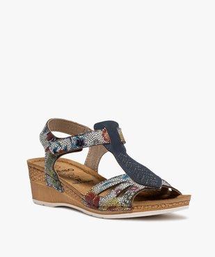 Sandales femme à talon compensé fermeture scratch vue2 - GEMO(URBAIN) - GEMO